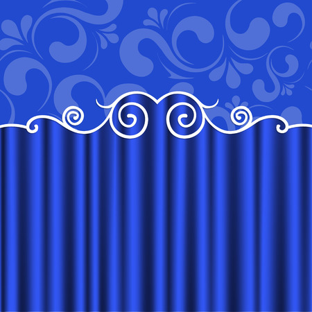 theater curtain: Blue theater curtain and floral ornament. Vector background. eps 10