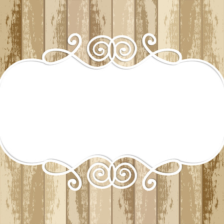 retro lace: lace frame on wooden background Illustration