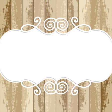 old photo border: lace frame on wooden background Illustration
