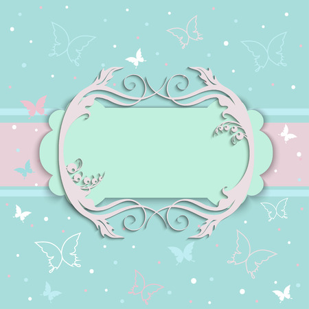 wishes romantic: Invitation cards in an old-style beige and blue Illustration