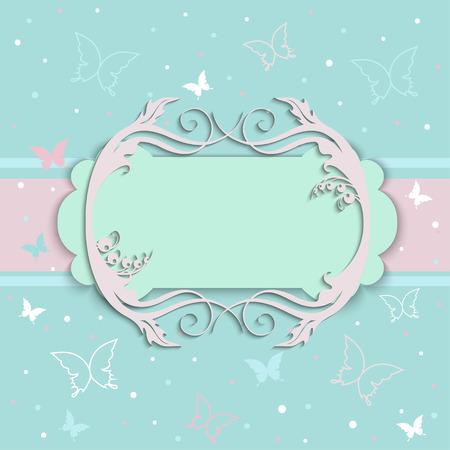 marco cumpleaños: tarjetas de invitación de un viejo estilo de color beige y azul Vectores