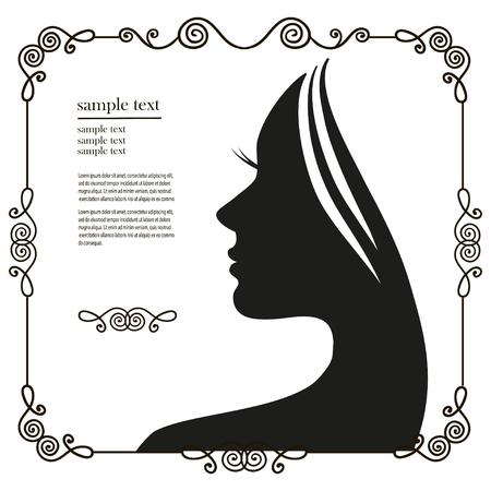 cabello rizado: Ilustración del vector de la silueta de la mujer con un cabello hermoso