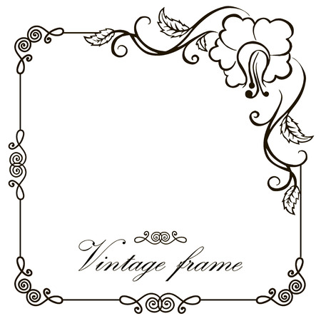 Vector frame frontière vendange gravure avec ornement rétro au design décoratif de style rococo antique