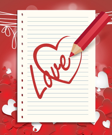 red pencil: Red pencil drawing heart, red heart pattern with a place for inscription Illustration