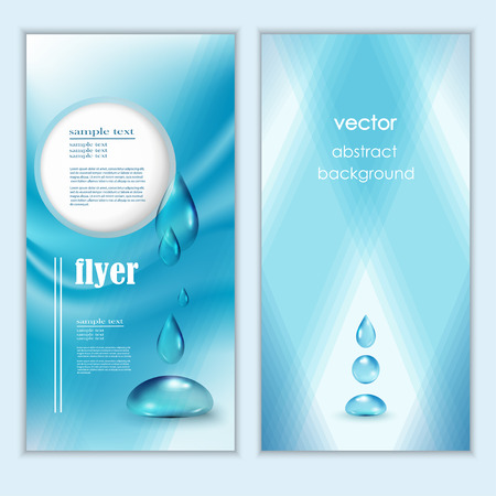 Blue shiny water drops banners set. Vector illustration. Fresh rain template for cover card design. Pure organic water. Clean water. Mountain mineral rich water. Spring water.  イラスト・ベクター素材