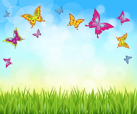 Bonito fondo brillante del césped de hierba fresca de la mariposa con el cielo. Fondos de la naturaleza primavera y verano.