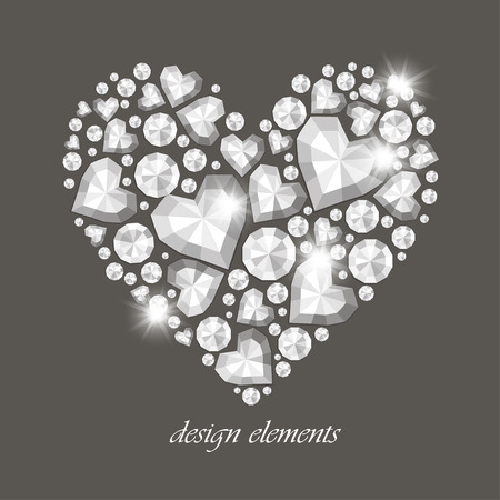 coeur diamant: Vecteur brillant diamant coeur sur fond gris Illustration