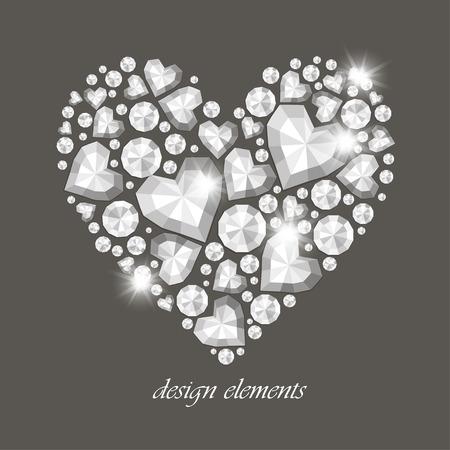 diamond heart: Vector shiny diamond heart on gray background