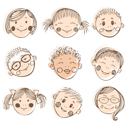 kids having fun: Group of sketch kids face set