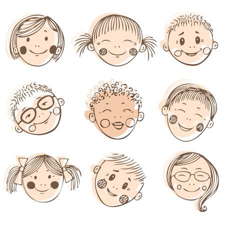 friends having fun: Group of sketch kids face set