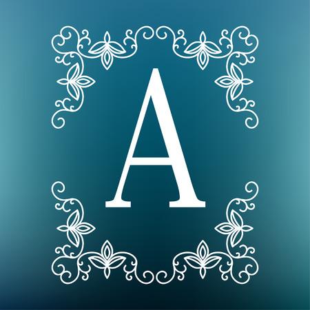 mono: Vector mono line frame. Art deco monogram design template. Illustration