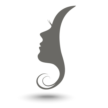 black hair girl: Woman profile beauty illustration vector Illustration