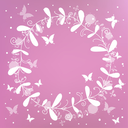 un: Floral Frame. Cute retro flowers arranged un a shape of the wreath perfect for wedding invitations and birthday cards