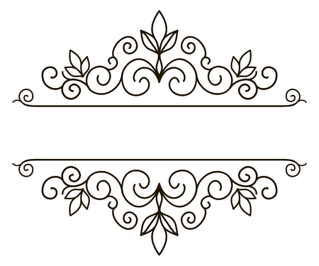 Vector decorative frame. Elegant element for design template, place for text. Floral border. Lace decor for birthday and greeting card, wedding invitation.  イラスト・ベクター素材