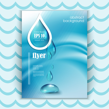 Blue shiny water drops banners set. Vector illustration. Fresh rain template for cover card design. Pure organic water. Illustration