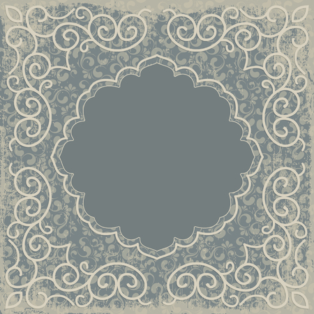 revival: Vintage background, oldfashioned, ripped, grungy paper, ornate, royal, revival frame, old sticker, victorian ornament, floral luxury ornamental pattern template for decoration and design Illustration