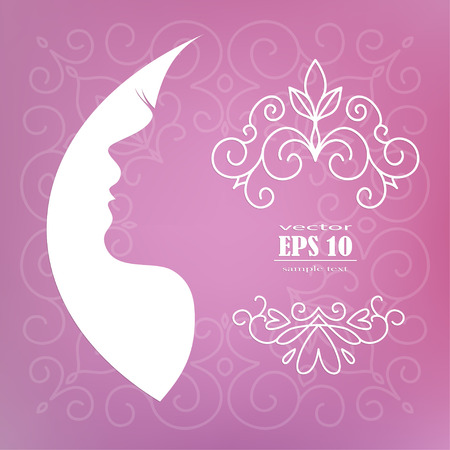 woman profile: card with the profile of woman, Vector illustration of Womans silhouette