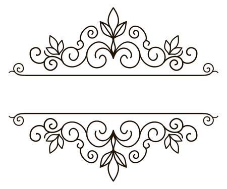 Vector decorative frame. Elegant element for design template, place for text. Floral border. Lace decor for birthday and greeting card, wedding invitation. Vettoriali