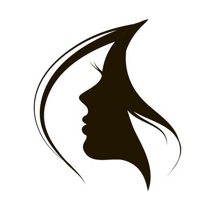 visage femme profil: Beau visage de femme et les cheveux icône de la mode Illustration