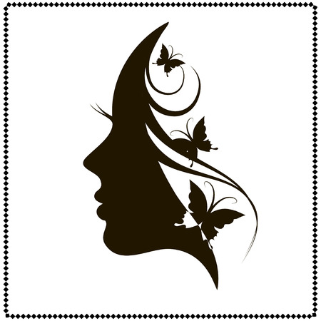 Profile of a girl with butterflies. Black and white vector illustration Illustration