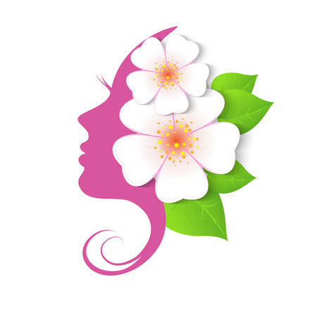 Female face in circle shape. Woman with flowers in hair. Vector beauty floral logo, sign, label design elements. Trendy concept for beauty salon, massage, spa, natural cosmetics.