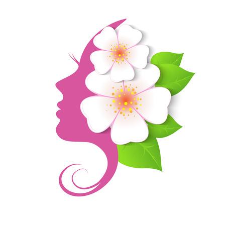 Weibliches Gesicht in Kreisform. Frau mit Blumen im Haar. Vector florale Schönheit Logo, Zeichen, Label-Design-Elemente. Trendy Konzept für Beauty-Salon, Massage, Spa, Naturkosmetik.