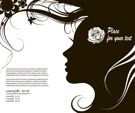 womanish: Vector illustration female profile with long curly hair and space for text Illustration