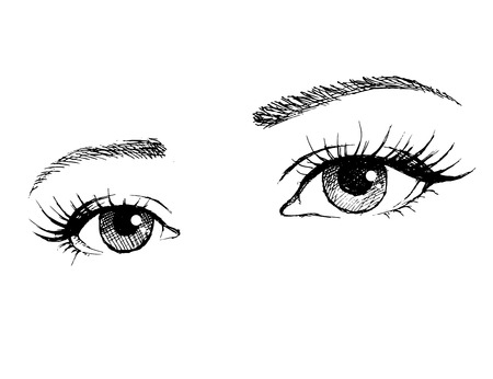 black eye: Illustration of woman eyes with long eyelashes. Illustration
