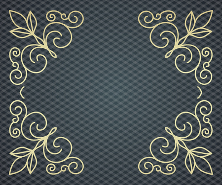 Vector floral frame with copy space for text in trendy mono line style - monogram design element Illustration