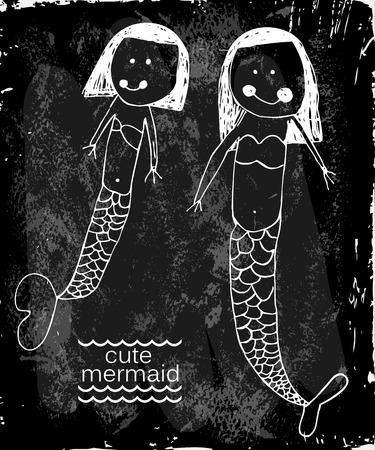 blue sea: Illustration of a cute baby mermaid girl Illustration