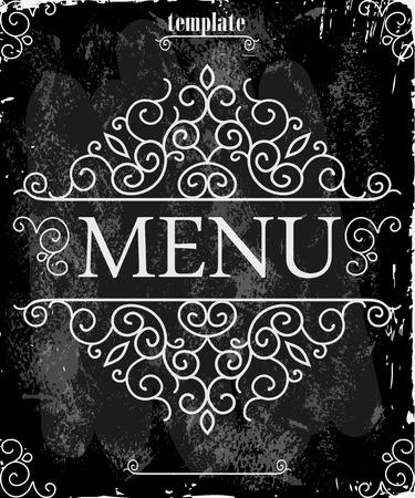 vintage ornament: Vintage frame with floral ornament with grunge background for restaurant name design. Chalkboard art. Black illustration variant.