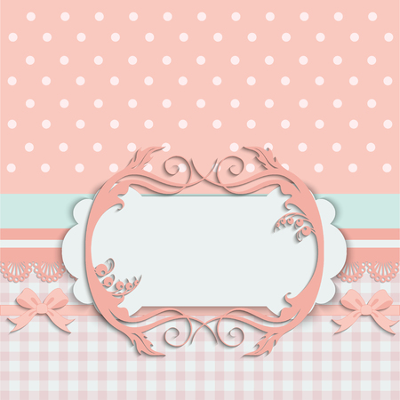 arrival: Vintage baby girl arrival announcement card.