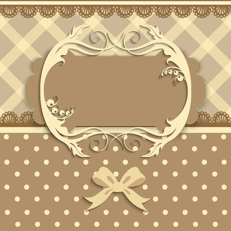 worn paper: Vintage card with lace,fabric background