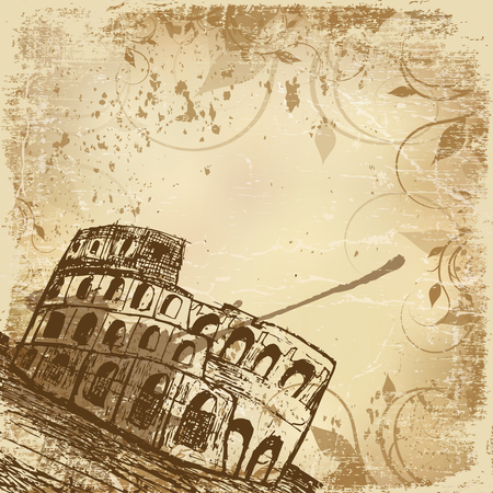 Vintage banner with hand drawn illustration of Coliseum, Rome, Italy. Travel Italy beige grunge background with place for text