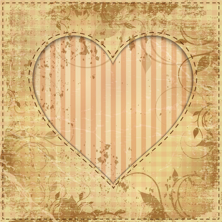 handwrite: vintage wedding invitation with paper heart and cardboard texture Illustration