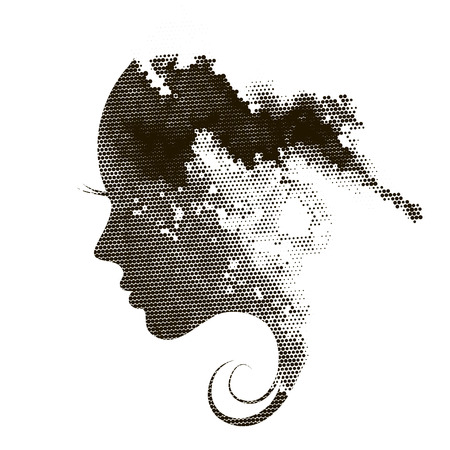 Silhouette of a profile of a young woman with abstract hair.