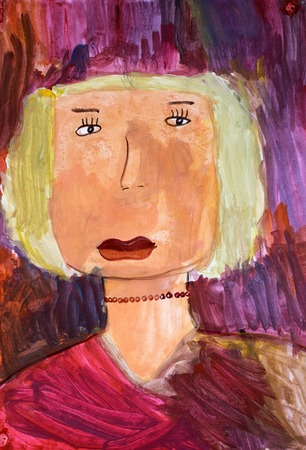 child's drawing: childs drawing of mom. painted picture of mother