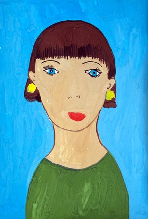 child's drawing: Childs drawing of her mom. Mothers day. Stock Photo
