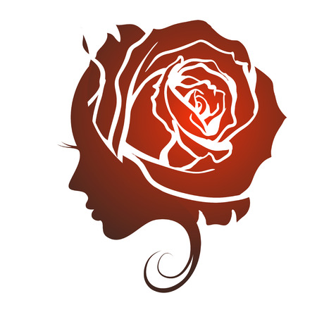 rose: Female profile face in rose flower shape. Woman with rose petals in hair. Vector beauty floral logo, sign, label design. Concept for beauty salon, massage, spa, natural cosmetics, hairstyle.