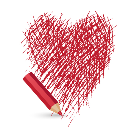 red pencil: red pencil draws a heart on a white background, vector illustration