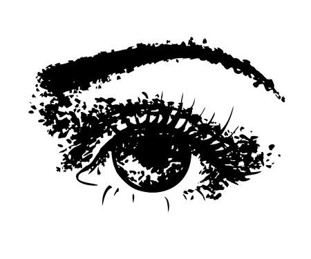 Hand drawn detailed eye. Pencil drawing sketch.
