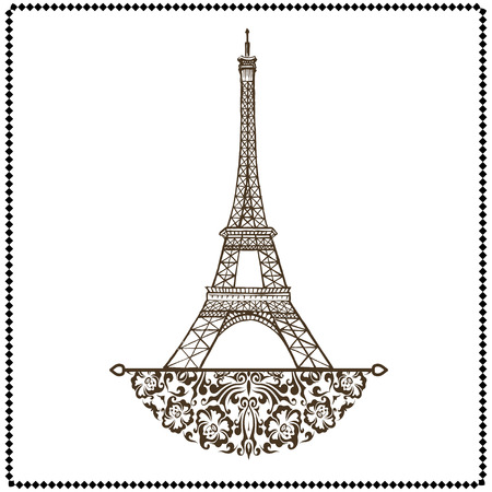 vector Eiffel tower isolated, hand drawn illustration
