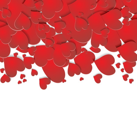 Valentines day red hearts on white background, celebration card.