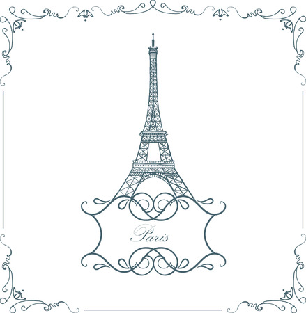 french culture: vector Eiffel tower isolated, hand drawn illustration Illustration