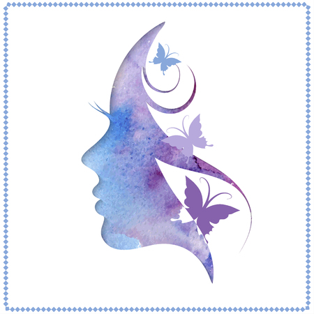 Ilustración vectorial de la silueta de la mujer con el pelo hermoso