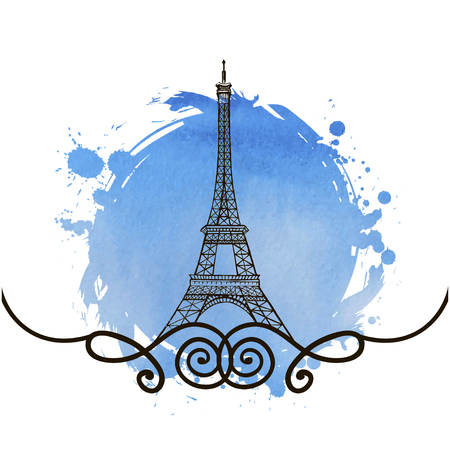 Eiffel Tower in Paris vector illustration, hand drawn famous french landmark silhouette on a watercolor stain background, paper texture, template for design Illustration