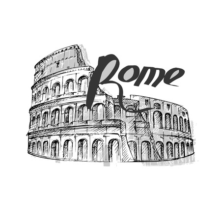 Coliseum hand drawn vector illustration isolated Illustration