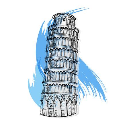 leaning tower of pisa: Pisa tower sketch vector illustration Illustration