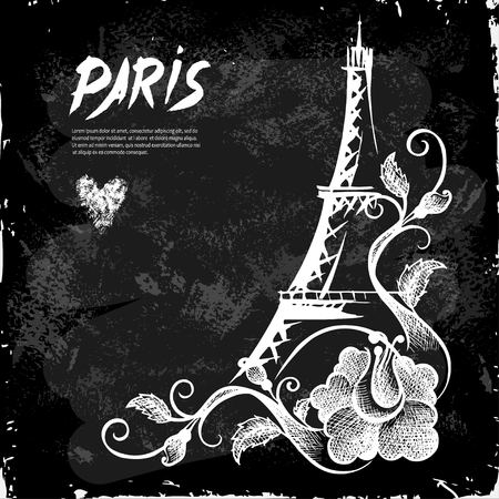 Eiffel Tower night Paris Vector illustration