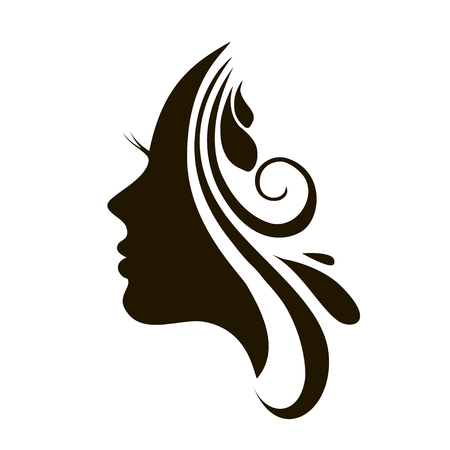 Beautiful female face silhouette in profile.